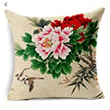 Global-Chinesische Pfingstrose Blume Wohnzimmer Schlafsofa Kissen Büro Kissen Baumwollleinenkissen...