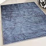 mynes Home Teppich Kelim Kilim in Blau waschbar und Rutschfest Modern Designer pflegeleicht hochwertige Webung Allzweck Teppich schadstofffrei leicht zu reinigen (80cm x 150cm)