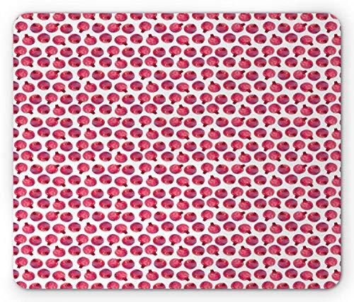 Frucht-Mausunterlage, Aquarell-Art-Granatapfel-exotisches Lebensmittel-Vegan-themenorientierter Zusammensetzungs-Druck, Standardgrößen-Rechteck-rutschfestes Gummi-Mousepad, dunkle Koralle getrocknete -