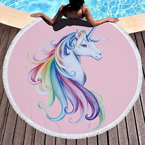 Marber Toalla de Playa Unicornio Toallas de Playa Redondas de Microfibra Grande 150 cm x 150 cm 59 Pulgadas para niños niñas niños (3)