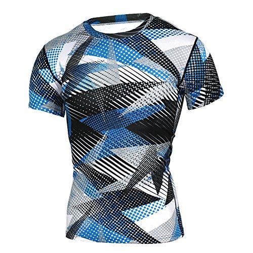 junkai Herren Compression Shirt Kurzarm Kompressionsshirt Baselayer Thermo Unterwäsche Funktionsshirt Oberteile T-Shirt Pullover Lightweight Shirt XXXL