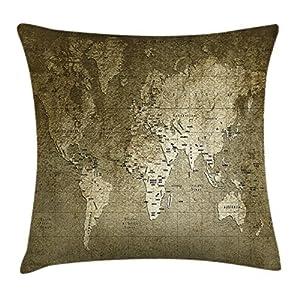 Envejecido manta almohada Funda de cojín por Ambesonne, antiguo mapa del mundo con gran textura nostálgico antiguo Plan Atlas Trace de vida impresión, decorativo cuadrado Accent funda de almohada, 16x 16cm, color verde