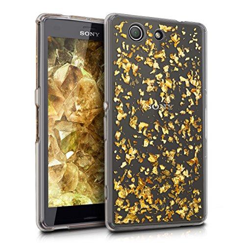 kwmobile Crystal Case Hülle für Sony Xperia Z3 Compact aus TPU Silikon mit Flocken Design - Schutzhülle Cover klar in Gold Transparent