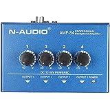 ammoon Ultra Compacto 4 Canales Mini Audio Auriculares Estéreo Amplificador TRS Entrada RCA con Adaptador de Energía