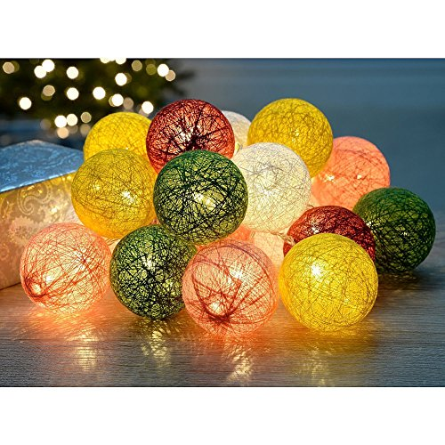 Wattebausch LED Lichterkette,Chickwin Multicolor 2.2M batteriebetriebene Warm Led Cotton Ball String Light Fairy Light für Indoor Weihnachtsbaum Dekorationen (Farbige (Ideen Deko Indoor Halloween)