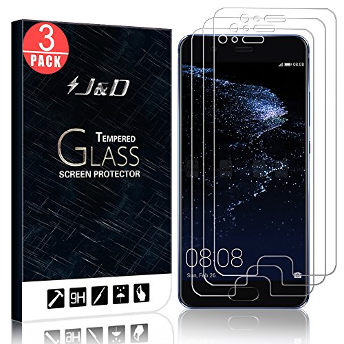 JD Compatible para 3-Pack P10 Plus Protector de Pantalla, [Cristal Templado] [NO Cobertura Completa] Claro Vidrio Balístico Protector de Pantalla para Huawei P10 Plus - [No para Huawei P10/P10 Lite]