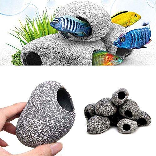hinmay Stein Replica Aquarium Dekoration Realistisch Granit Look mit Fisch Hideaway (Hideaway Ornament)