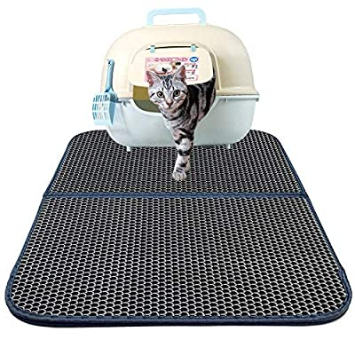 Zellar Cat Litter Mat, Double-Layer Honeycomb Cat Feeding Mat, Litter-Trapping, Water-Proof, Non-Toxic Soft, Light EVA Foam Rubber