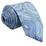 Shlax&Wing Hombre La Moda Seda Corbatas Para Azul Cachemir Floral Extra largo
