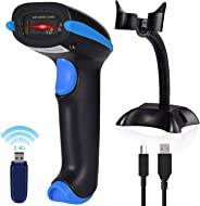 Wireless Barcode Scanner USB Cordless Laser Automatic Barcode Reader Handheld Bar Code Scanner with USB Wireless Receiver for