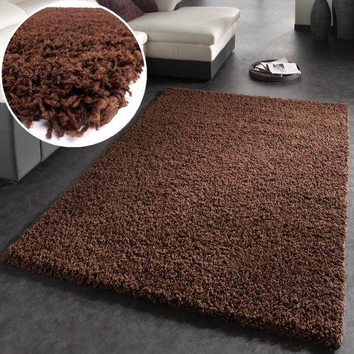 Tappeto shaggy a pelo alto a pelo lungo tappeto a tinta unita in marrone, dimensione:80x150 cm