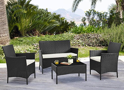 EBS Garden Furniture Set Table Chair and Sofa Black RATTAN Conservatory Patio Garden