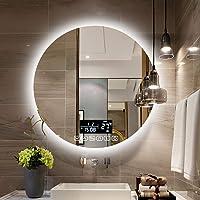 Miroir Salle de Bain LED Rond Éclairé Miroir de Maquillage Mural avec Capteur Tactile + Antibuée Antibuée + Miroir Rétro…