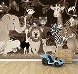 selbstklebende Fototapete - Kindertapete Wilde Tiere im Dschungel - Cartoon - sephia - sepia - 360x270 cm - Tapete mit Kleber – Wandtapete – Poster – Dekoration – Wandbild – Wandposter – Wand – Fotofolie – Bild – Wandbilder - Wanddeko