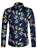 Herren Hemd Langarm Shirt Lustig Freizeit Hemd Party Regular Fit Hemd Ananas 1031 XXL