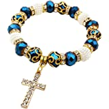 Nazareth Store Braccialetto elastico regolabile con rosario da polso con croce cristallizzata cattolica blu profondo
