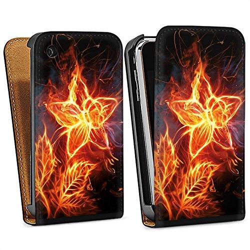 Apple iPhone 5s Housse Étui Protection Coque Feu Feu Fleur Sac Downflip noir