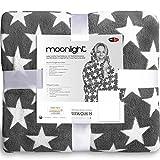 CelinaTex Moonlight Kuscheldecke Motiv Sterne, Mikrofaser Coral Fleece Decke, grau, Tagesdecke 150 x 200 cm 5001000