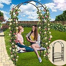Rosenbogen mit Sitzbank Rosenspalier Rankhilfe Gartenbogen Rankenbogen Metall