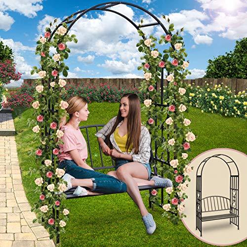 Jago arco per piante rampicanti rose con panca con schienale da giardino altezza ca. 205 cm