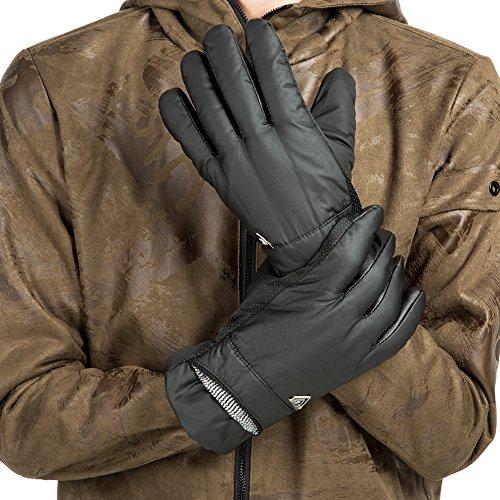 GLOUE Herren Handschuhe Warme Handschuhe Winter Outdoor-Sport Wasserdicht Winddicht Touchscreen Winterfest Rutschfest Abriebfest Fahrrad Motorrad Skilaufen Schwarz - 5