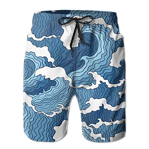 Fashion Men's Beach Pants Japanese Blue and White Wave Men's/Boys Casual Quick-Drying Bath Suits Elastic Waist Beach Pants with Pockets,XXL