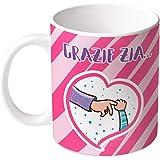 M.M. Group Tazza dei Sentimenti Grazie Zia per la Tua Premurosa, 11 Ounces, Ceramica, Multicolore
