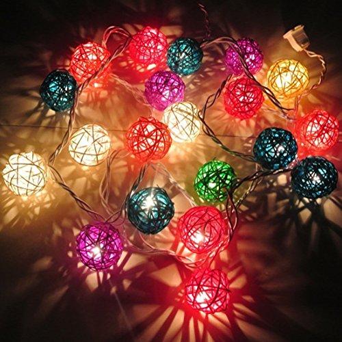 Calcifer Guirlande extérieure de boules de rotin de 3 m avec 20 LED - Fil ultra-fin en cuivre - Décoration de mariage, jardin, multicolore