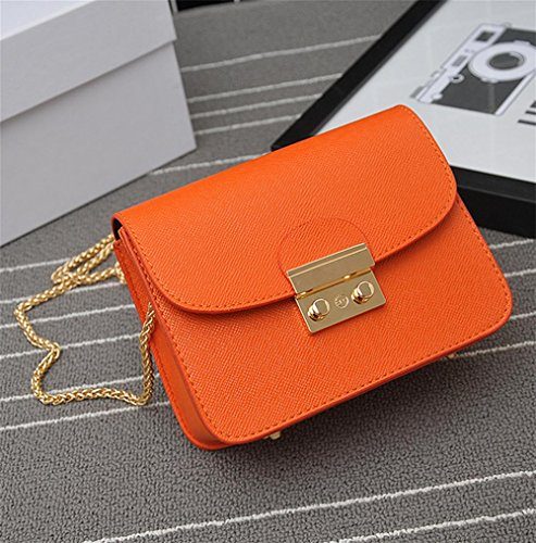 YANX Fashion PU signora piccola festa catena borsa borsa delle signore Borsa a tracolla Tote (13 * 17 * 8 cm) , white Orange