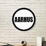 DIYthinker Aarhus Dänemark Stadt Name Art Malerei Bild Photo Holz-Rund Rahmen Ausgangswand-Dekor-Geschenk Medium Schwarz