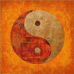 Cuadro sobre lienzo 100 x 100 cm: yin and yang de Andrea Haase - cuadro terminado, cuadro sobre bastidor, lámina terminada sobre lienzo auténtico, impresión en lienzo