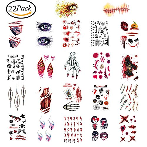 22 Pcs Halloween Zombie Narben Vampir Tattoo/Tätowierung temporäre Tattoos/Halloween Party Requisit und Cosplay (Temporäre Requisiten)