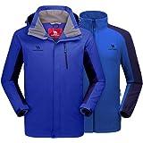 CAMEL CROWN Chaqueta Impermeable 3 en 1 con Capucha para Hombre A Prueba de Viento Chaqueta de Esquí con Forro Polar Jacket I
