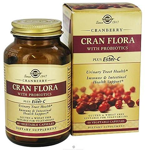 SOLGAR CRAN FLORA Avec probiotiques - Ester C - 60 gélules