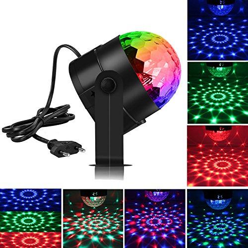 Spriak Disco Licht Partylicht Disco Lichteffekte Musikgesteuert LED Discokugel für Kinder 3W RGB Partybeleuchtung Party Lampe Bühnenbeleuchtung...