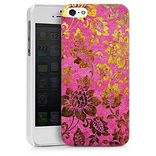 Apple iPhone X Silikon Hülle Case Schutzhülle Retro Bunt Blumen Hard Case weiß