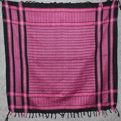 Freak Scene® Foulard palestinien/keffieh en coton - couleur de base noire - 100 x 100 cm - Large palette de couleurs! noir motif rose vif