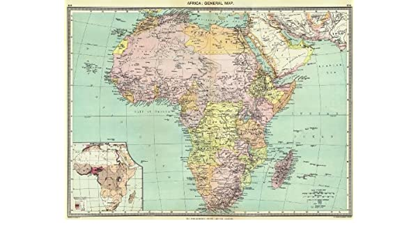 Africa Africa General Map Inset Map Of Population Map 1907