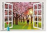 PeiTrade Romantic Cherry Tree 3d False Window Living Room Bedroom Wall Sticker Art Decal Home Room Decor Office Wall Mural Wallpaper Art Sticker Decal Paper Mural for Home Bedroom