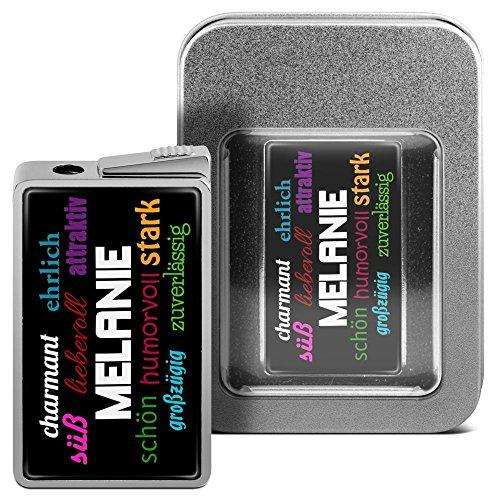 Feuerzeug mit Namen Melanie - personalisiertes Gasfeuerzeug mit Design Positive Eigenschaften - inkl. Metall-Geschenk-Box 4