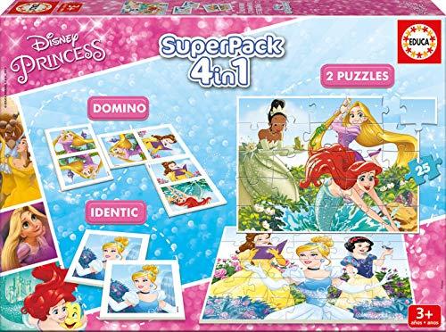 Disney Princesas Superpack 4 Juegos, 3+ (Educa Borrás 17198)