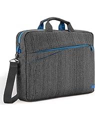 """deleyCON Notebooktasche für Notebook / Laptop bis 17"""" (43,2cm) - Tasche/Hülle aus Leinen mit Zubehörfächern und verstärkten Polsterwänden - grau/blau"""