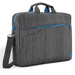 """deleyCON Notebooktasche Laptoptasche bis 17"""" (43,2cm) - Tasche Hülle aus Leinen mit Zubehörfächern und verstärkten Polsterwänden - Grau Blau"""
