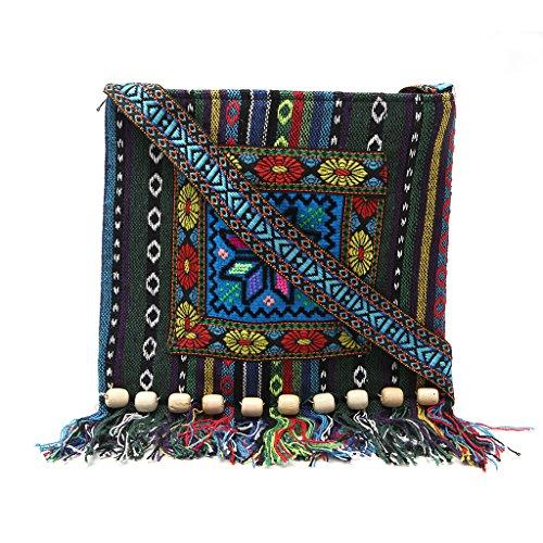 Wifun Vintage Stickerei tasche Boho Hobo Hmong Ethnische Shopper Tasche frauen schulter umhängetasche Bestickte handtasche (Blau) (Bestickt Handtasche Leder)