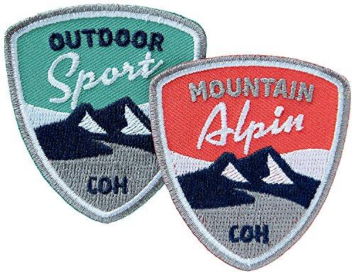 2er-Set Alpin-Sport Abzeichen 55 x 60 mm gestickt / Outdoor Mountain Wandern Bergsteigen Klettern Ski Snowboard Wintersport / Aufnäher Aufbügler Flicken Sticker Patch für Kleidung Tasche Rucksack -