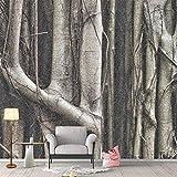 Cucsaist Fond d'écran personnalisé Photo Fond d'écran Forest Tree Root Noir Blanc Personnalité Nordique Chambre Salon Fond 3D Fond D'écran Mural, 200 * 140cm