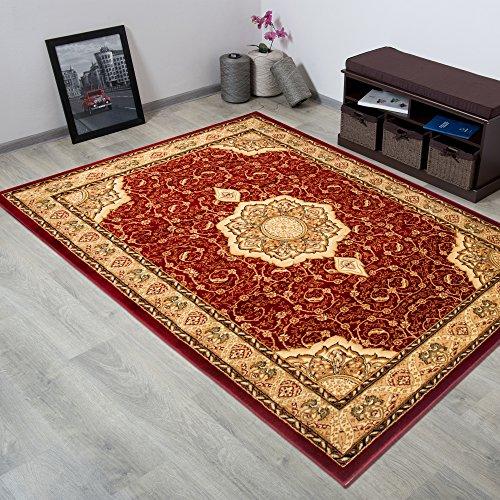 Tapiso noble tappeto salotto classico soggiorno rosso orientale tradizionale floreale a fiori a pelo corto 180 x 260 cm