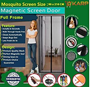Karp Mosquito Magnetic Screen Door Full Frame Curtain With Hook And Loop Fastener Tape (90 Cm W X 210 Cm H) - Black Color
