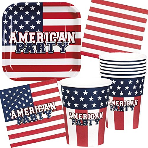 Neu: 49-tlg.Party-Set * USA * mit Teller + Becher + Servietten + Deko | Amerika U.S. Party Set Mottoparty Motto Dekoration