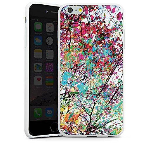 Apple iPhone X Silikon Hülle Case Schutzhülle Blätter Bunt Frühling Silikon Case weiß
